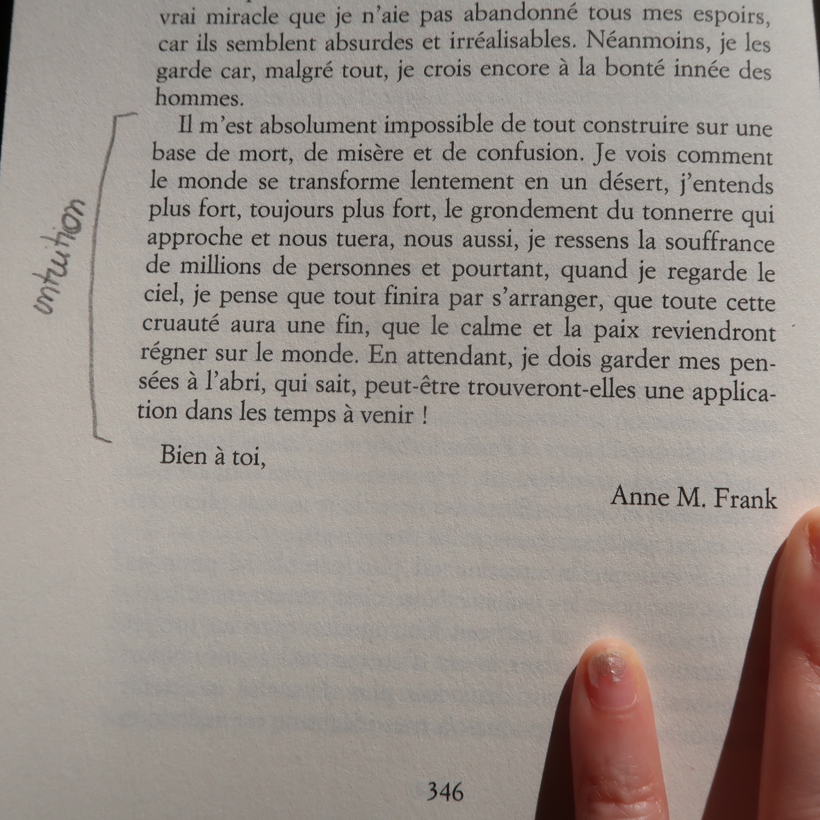 intuition, anne franck, auteurdemavie.com